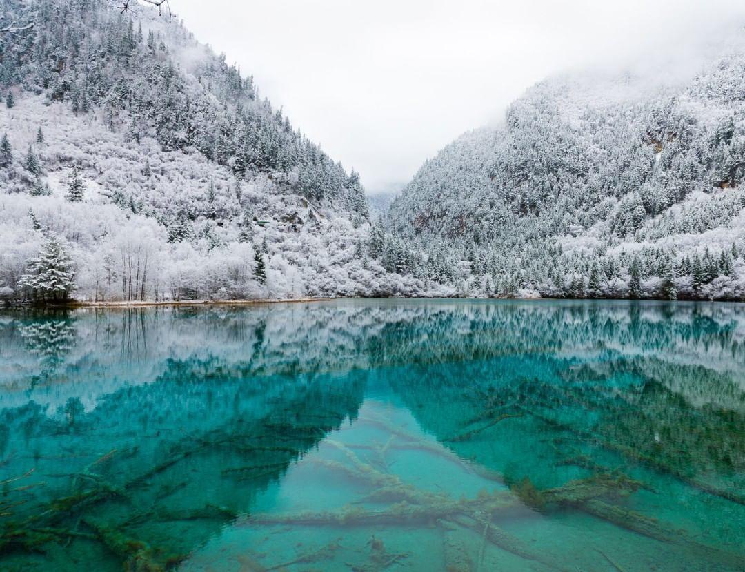 雪后的九寨沟,嫣然一个冰雪童话世界!