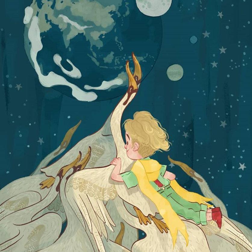 意大利插画师 Fabio Mancini 的插画绘本《小王子》IG: pm_fabio