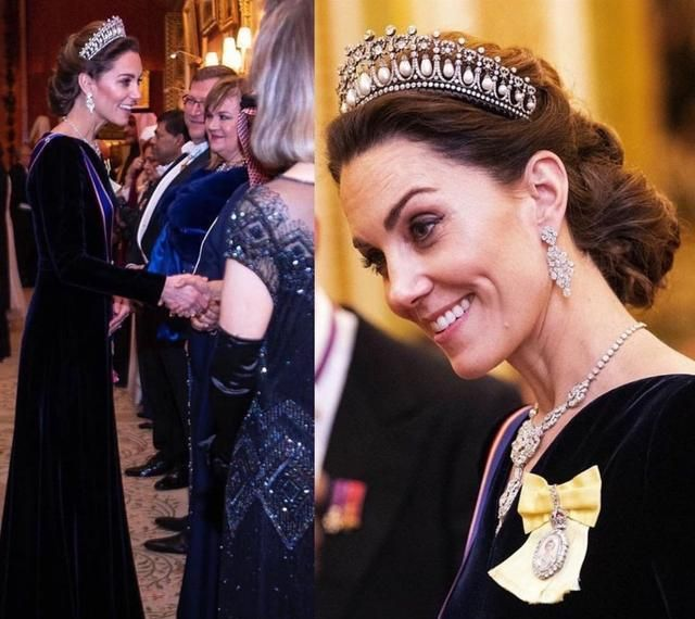 凯特王妃丝绒黑礼服宛如天鹅,珍珠泪王冠闪耀,曾是戴妃最爱