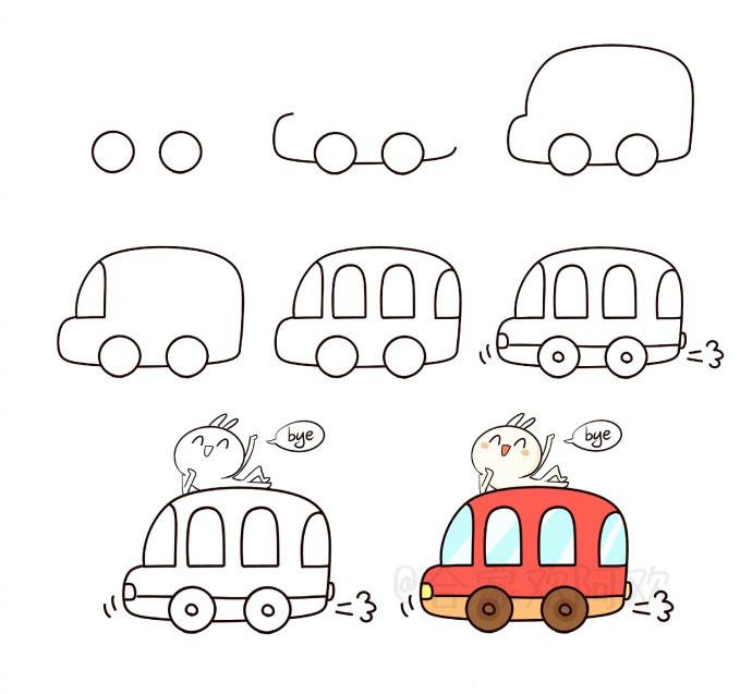 一组交通工具简笔画,学起来