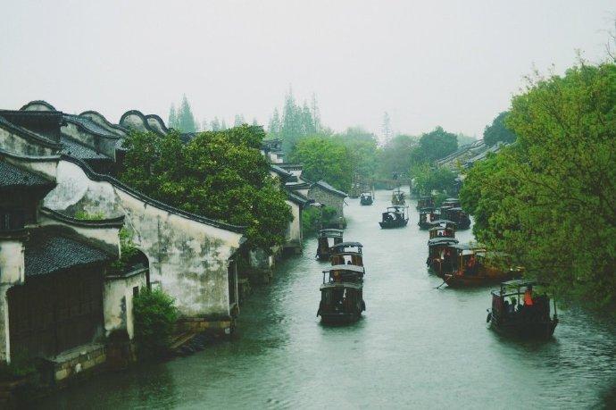 乌镇小蓬水中游,江南春雨贵如油。