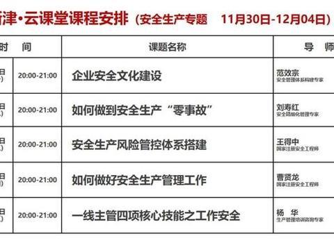 """如何做好安全生产管理工作?12月3日晚8点""""创新津·云课堂""""为您解读"""