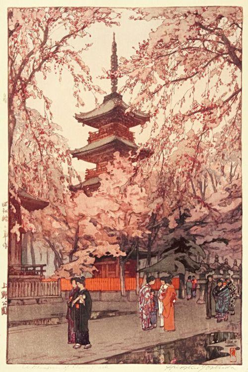 上世纪初日本艺术家Hiroshi Yoshida的建筑版画
