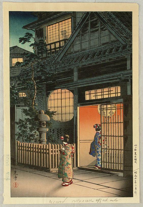 来自日本艺术家Tsuchiya Koitsu的建筑风景版画