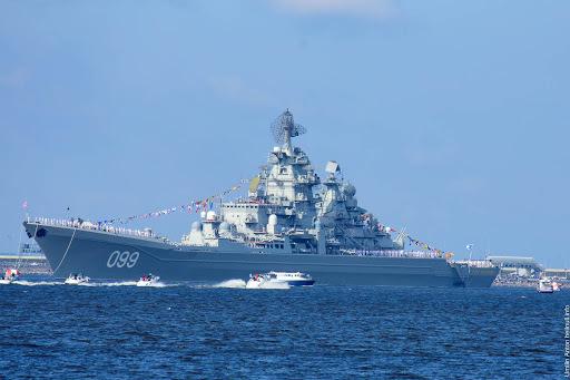 2017年俄国海军节,阅舰式中的彼得大帝号核动力巡洋舰