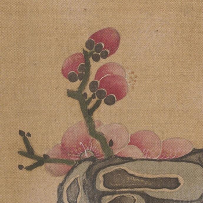 陈洪绶《梅花小鸟》绢本,高清大图。
