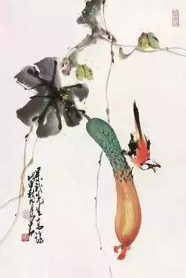 赵少昂各种题材的 中,以花鸟画为最好,生机灵动
