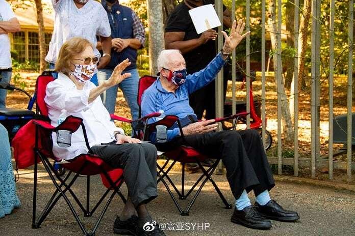 美国前总统卡特和夫人罗莎琳在佐治亚州普莱恩斯庆祝96岁生日