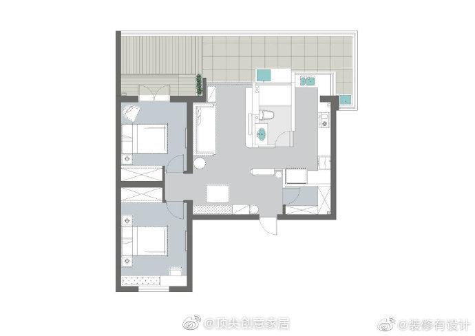 90㎡北欧简约风两居室,棕红+蓝+藕粉搭配出不一样的温暖之家!