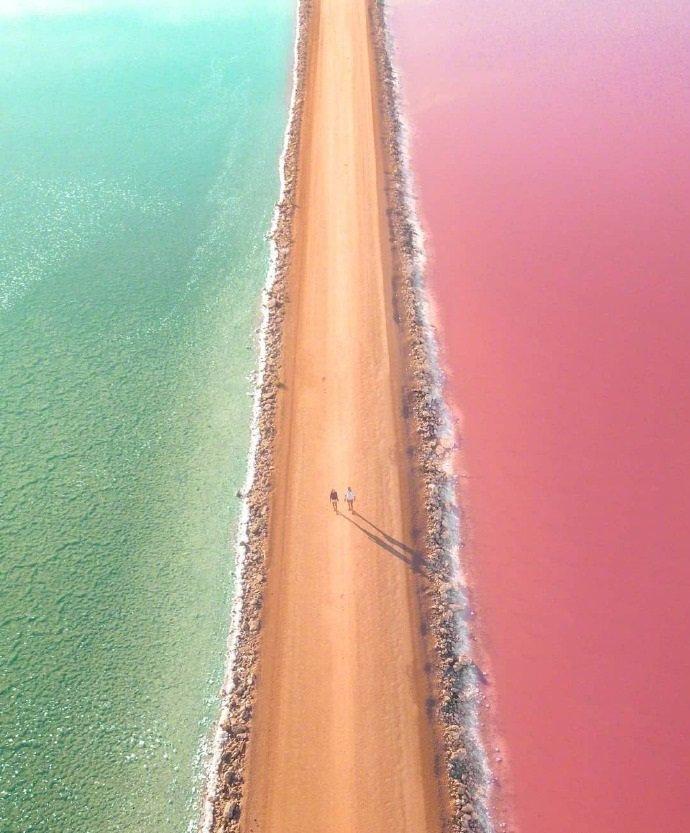 糖果色的澳大利亚麦克唐纳尔湖
