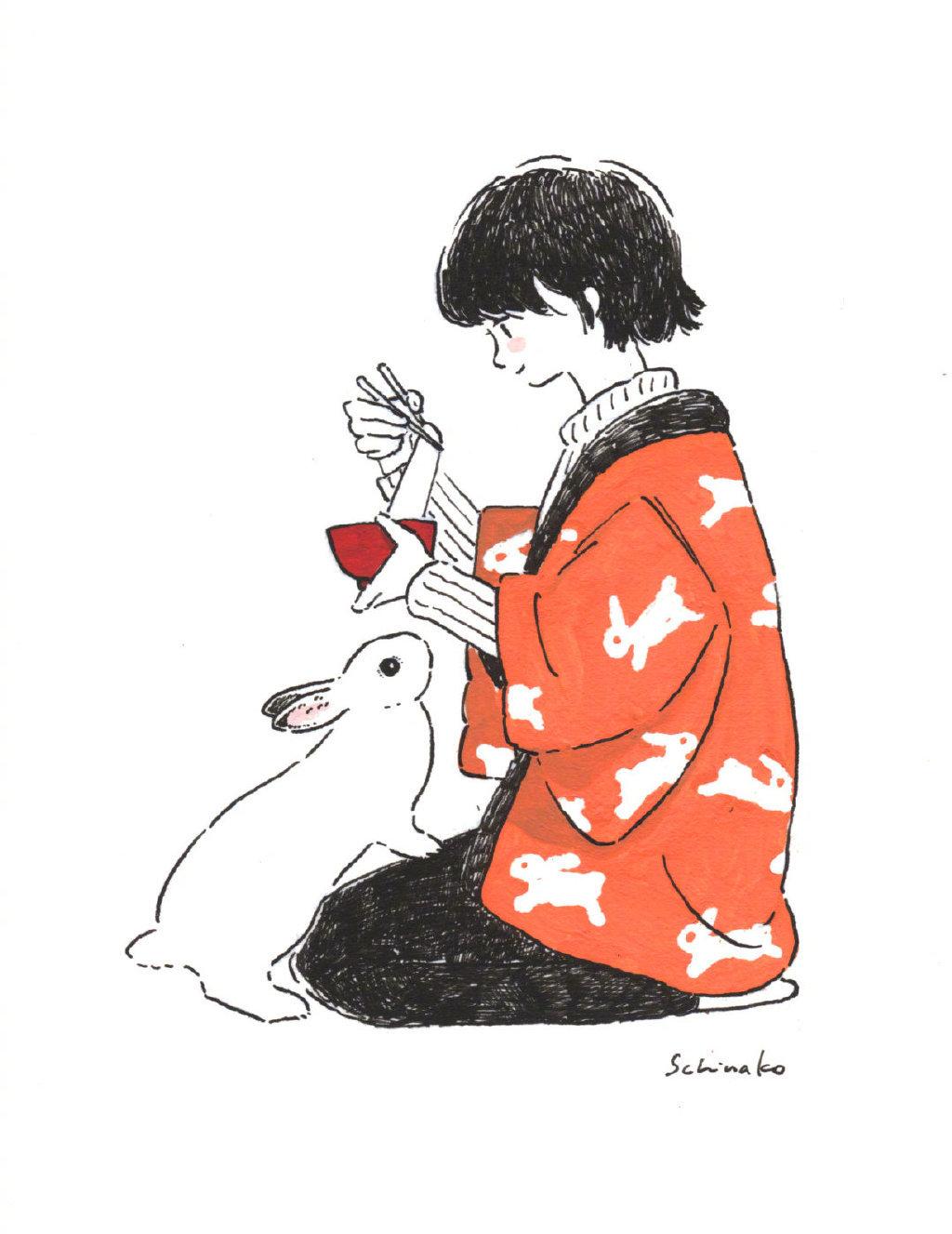 日本插画家 森山標子 的插画作品,一位特别喜欢兔兔的插画师~