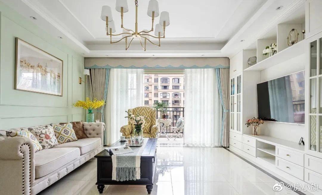 老房翻新套内面积110平,设计师没有用传统美式深沉的配色方案