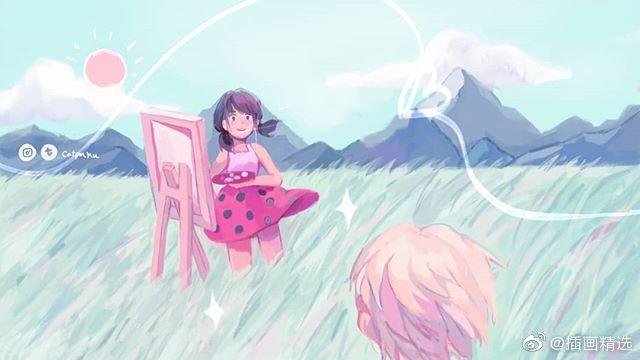插画师catpaku的一组插画作品,梦幻的主题,配色也非常舒服