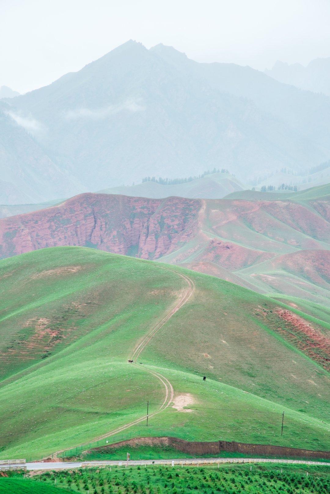 青海祁连县,卓尔山,丹霞地貌与草原融为一体