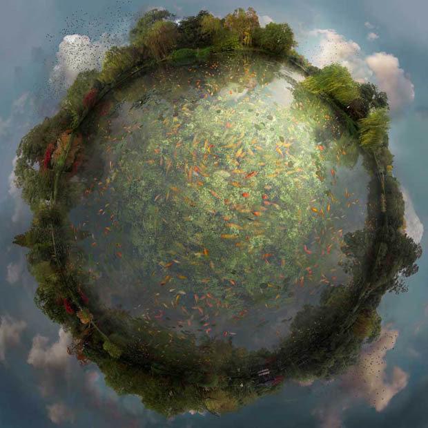 艺术家Catherine Nelson用多张照片拼合形成的全景球体