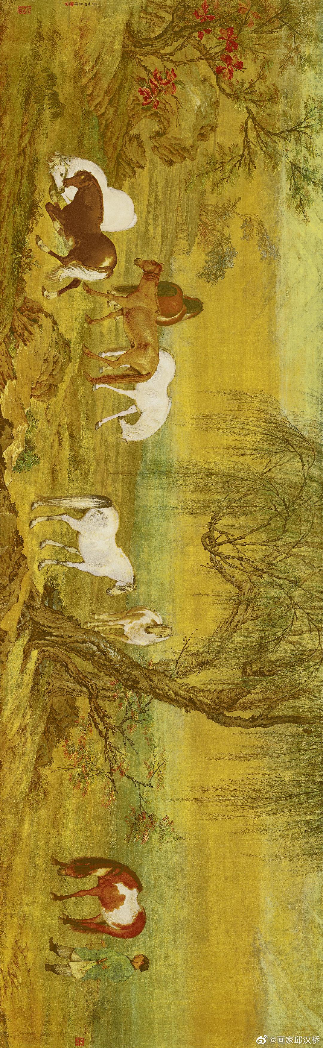《郊原牧马图》,清代,郎世宁,绢本设色,纵51.2cm,横166cm