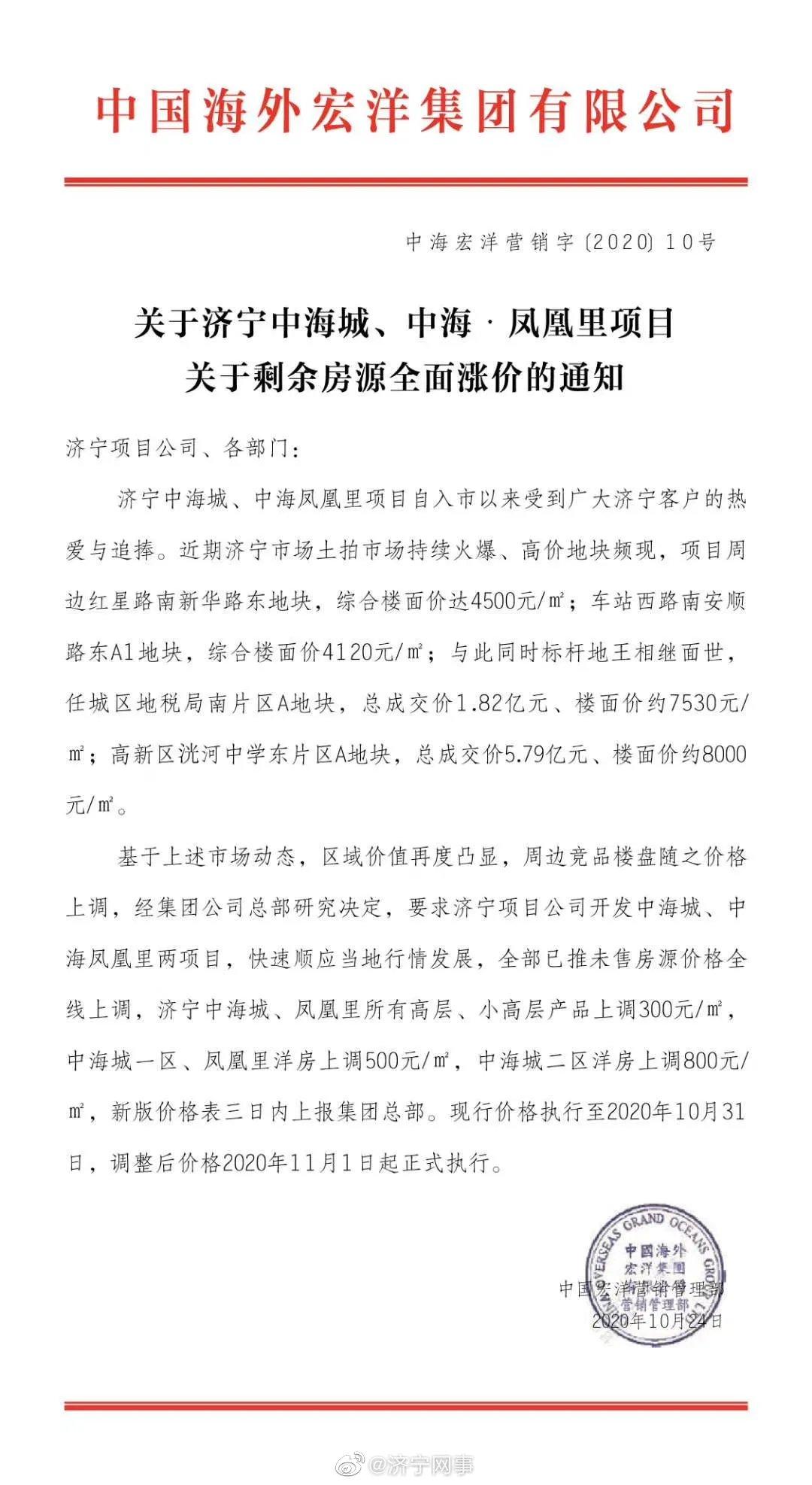 扰乱济宁房地产市场,中海,你想干啥