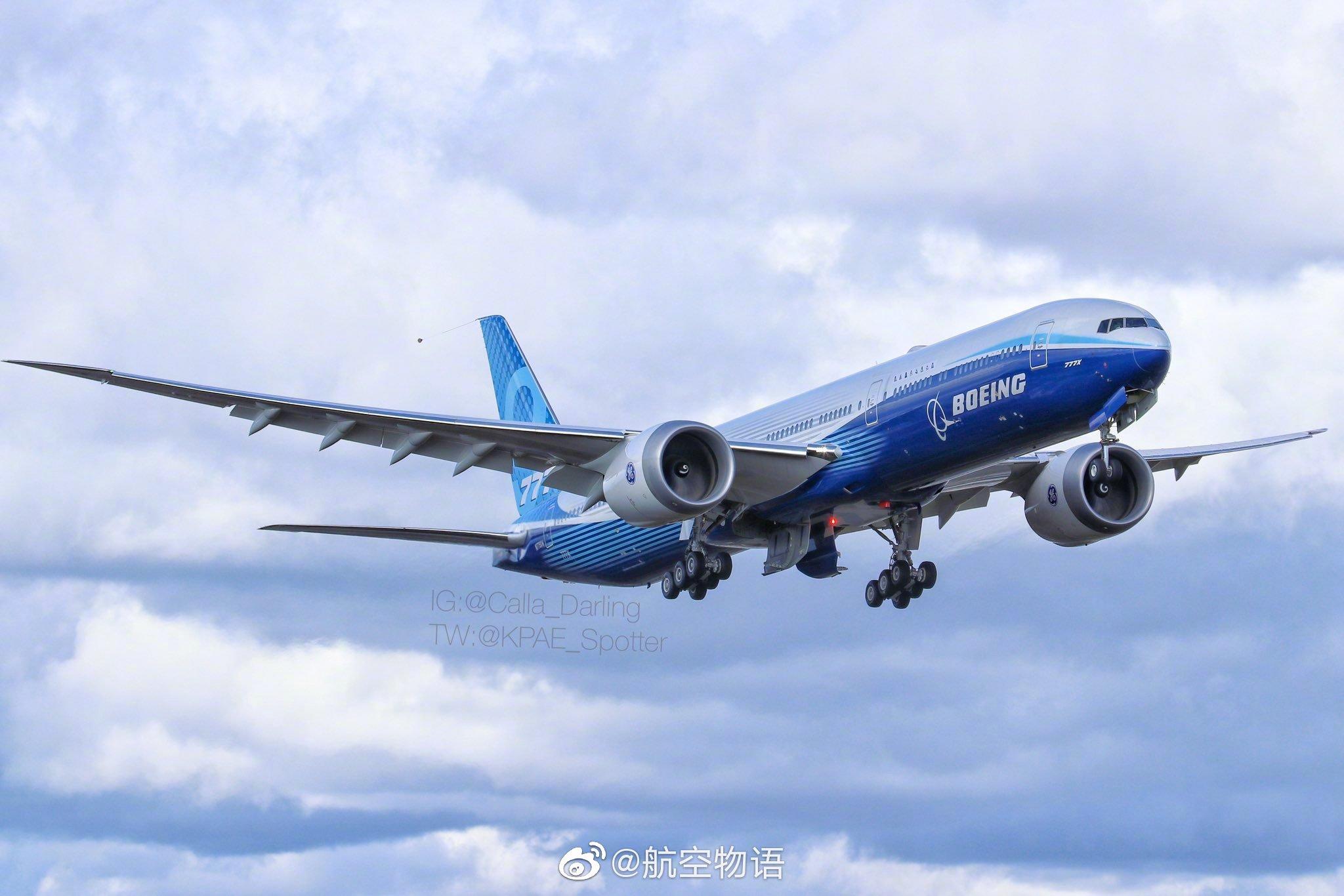 受波音宣布因疫情暂时停产的影响,777X进行了近期的最后一次试飞