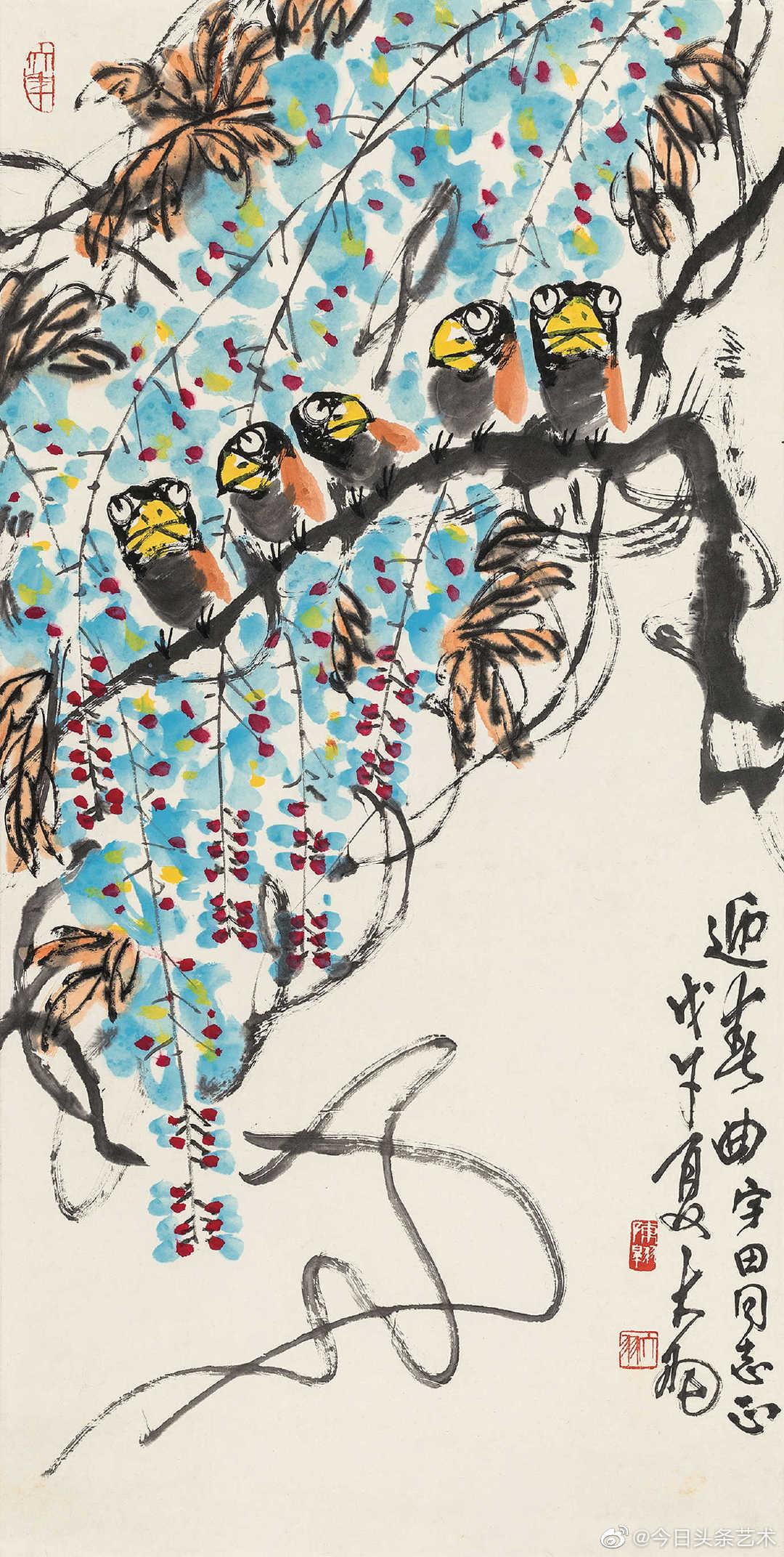 陈大羽擅长大写意花鸟,一改传统写意文人画温文儒雅的气质