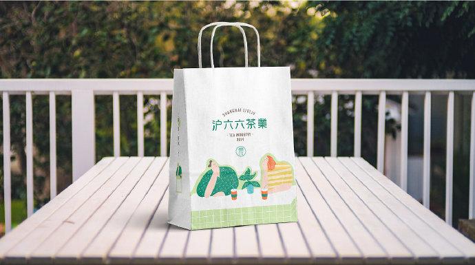 展开研究所沪六六茶業奶茶店LOGO设计及品牌vi设计