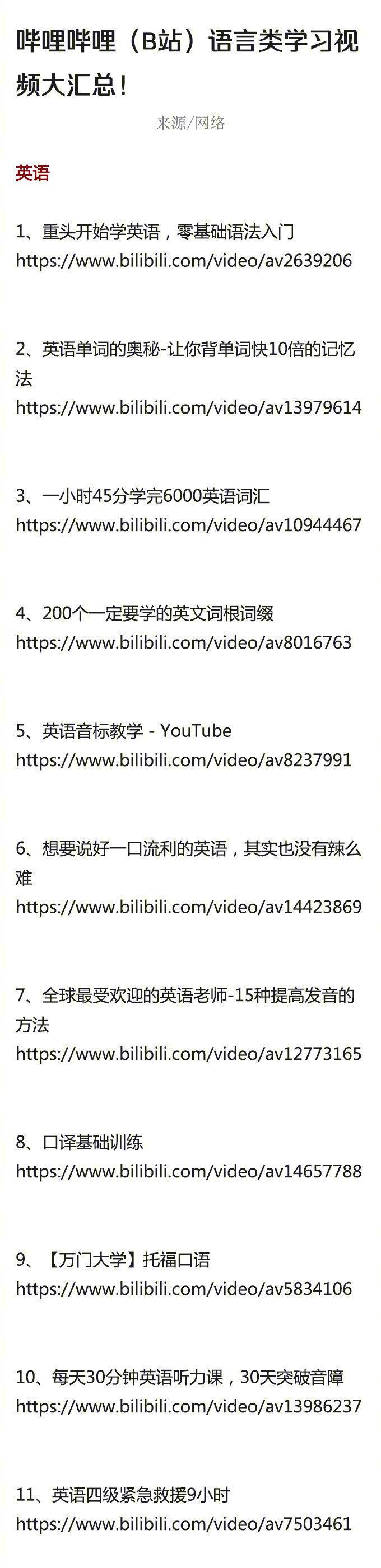 哔哩哔哩(B站)语言类学习视频大汇总!