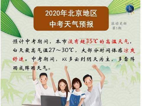 北京中考期间多雷阵雨或阵雨天气 需注意防雨防雷电