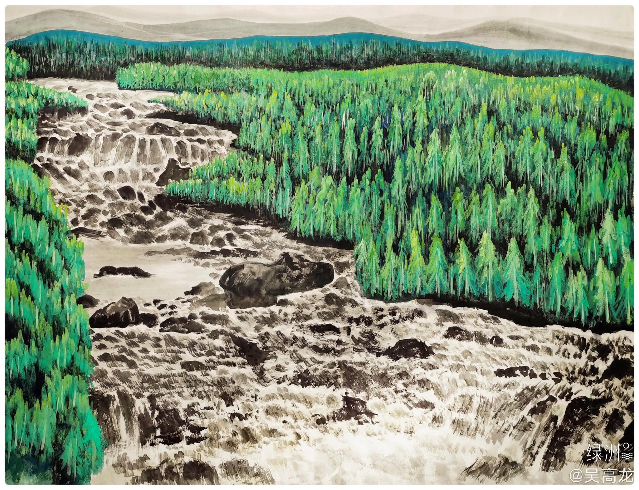 吴高龙画新疆山水风景画 做人像水,做事像山