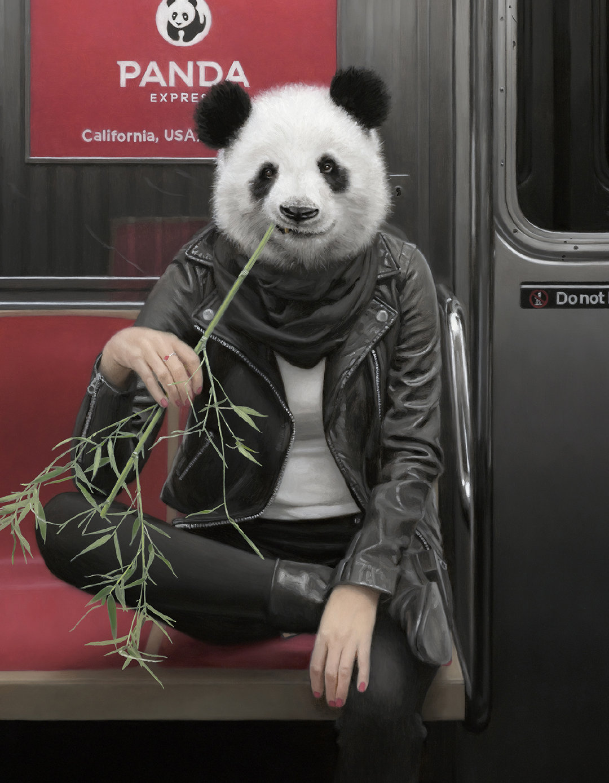 纽约地铁里的动物乘客by洛杉矶艺术家Matthew Grabelsky