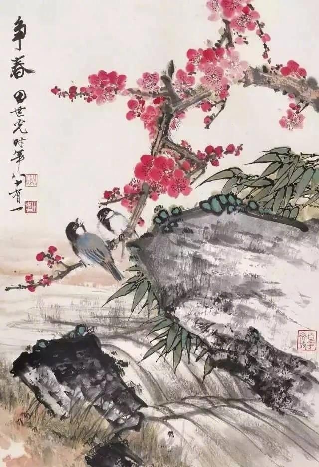 名家笔下的梅花翠竹小鸟 。