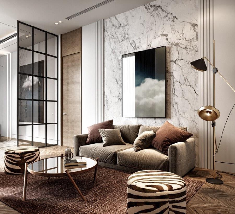 大理石纹的轻奢质感汕头设计师/汕头室内设计