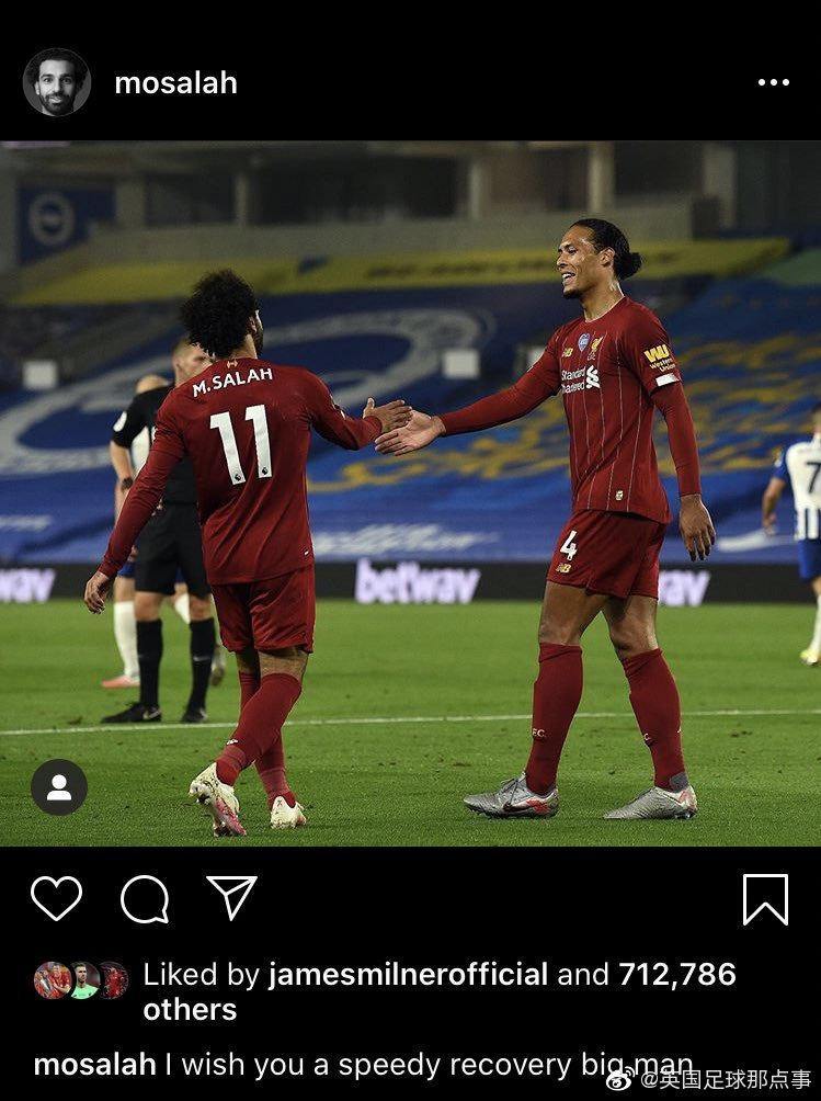 利物浦队友祝福范戴克早日康复