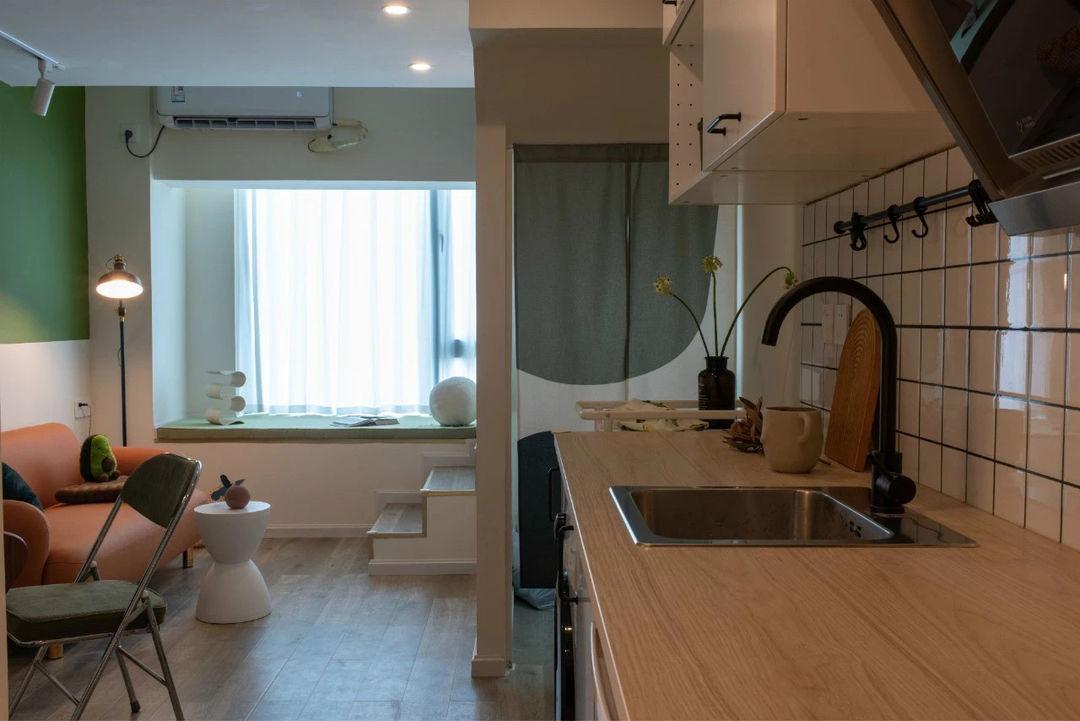 44㎡元气乳茶味小清新风LOFT公寓丨李大脓设计