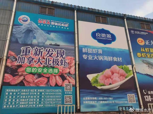 加拿大北极虾批发市场广告牌:第一弹沈阳于洪水产市场!