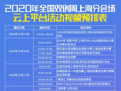 排片表出炉!双创上海分会场云上活动精彩纷呈