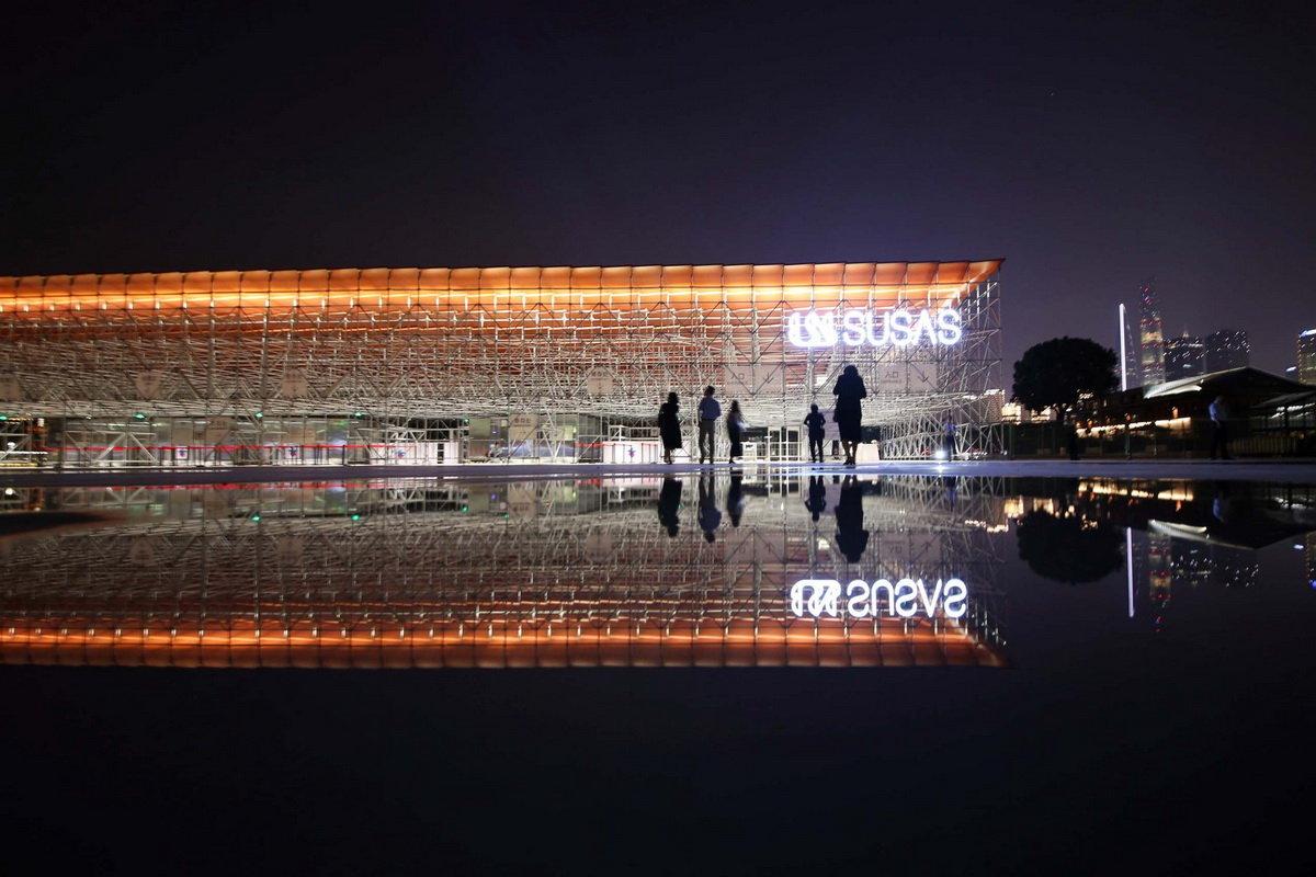 2019上海城市空间艺术季主展场入口安检棚 / 同济原作设计工作室富有