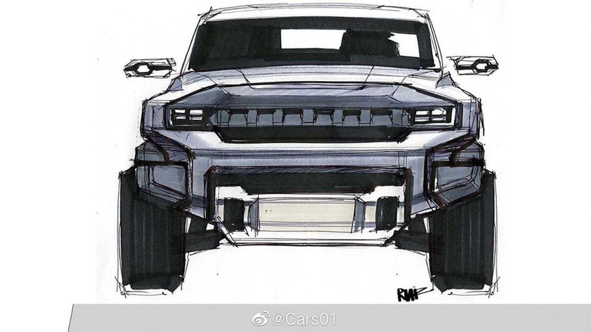 通用汽车设计师绘制的悍马EV电动皮卡早期设计草图