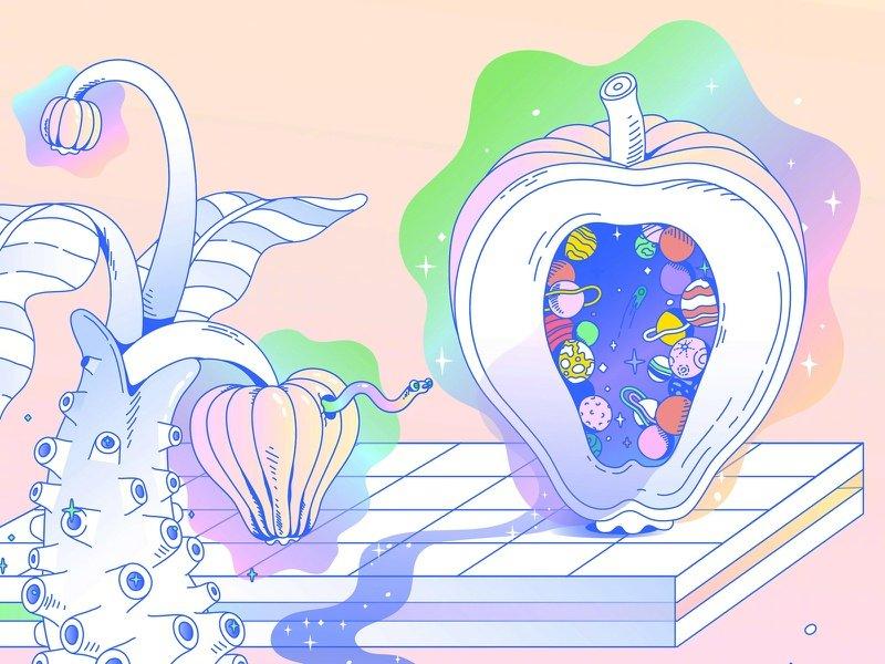 艺术家 Lena Vargas 色彩特别的插画作品。