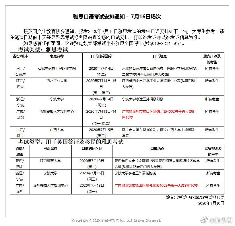 报考2020年7月16日、18日、19日雅思考试的考生口语安排分别图所示