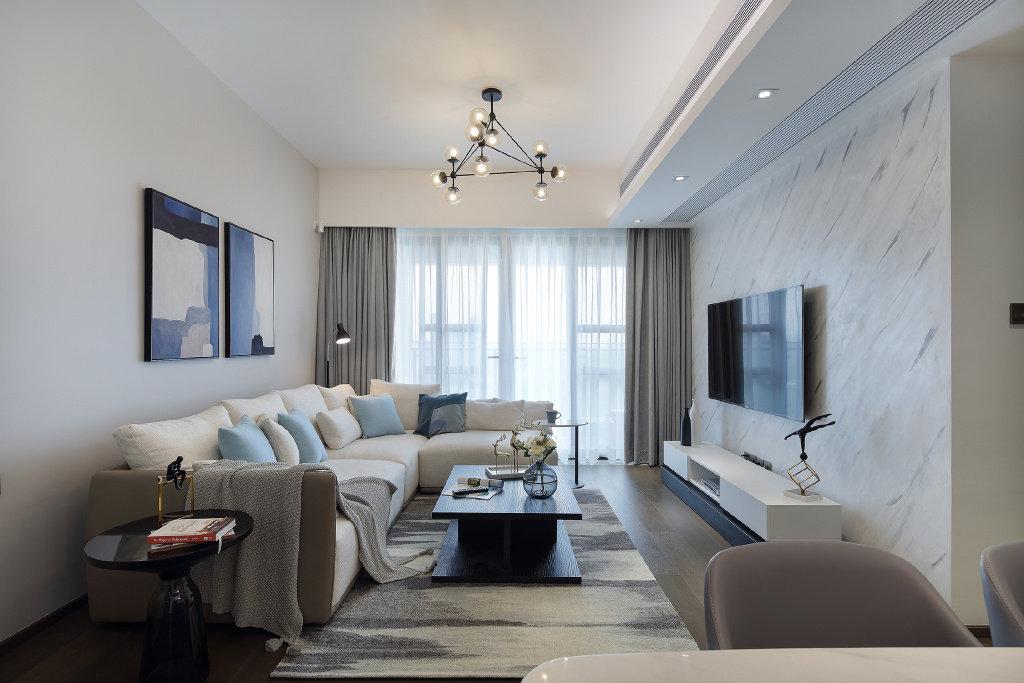 89㎡现代简约风格装修,合理的空间布局,温馨柔和的配饰
