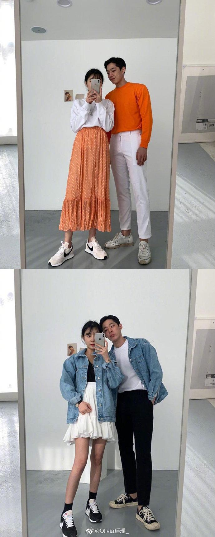 用颜色进行巧妙搭配的情侣Daily Look,这样穿真的太好看啦!