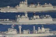 """美日法""""对华军演""""接近尾声,中国军舰编队突然现身冲绳海域,日媒:俄军战舰此前也驶过日本周边"""