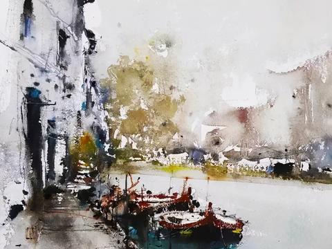 意大利画家罗伯托 畅快淋漓的水彩风景画