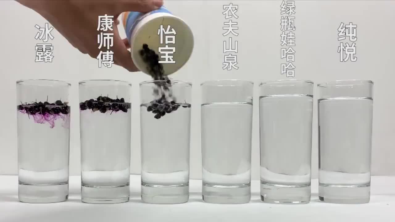 常见的矿泉水酸碱测试,黑枸杞遇酸变红,遇碱变蓝…………