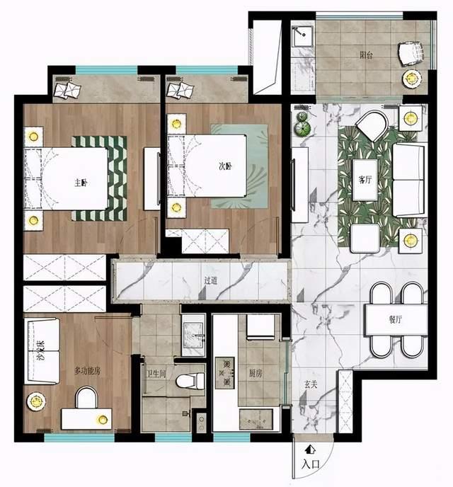 87平现代风小三房,硬朗的装饰层次丰富,体现出独特的线条美!