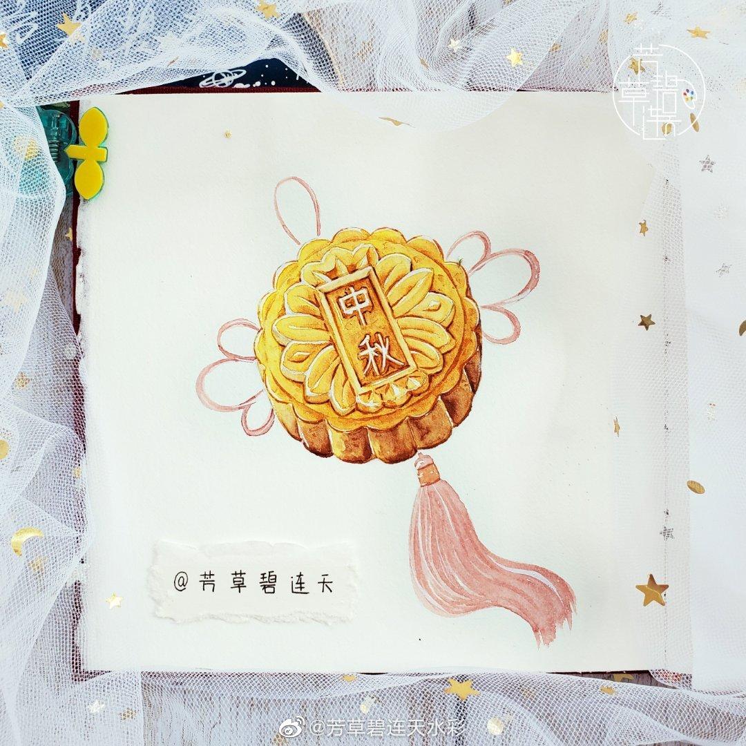 | 作者:@芳草碧连天水彩原创水彩美食手绘中式点心~