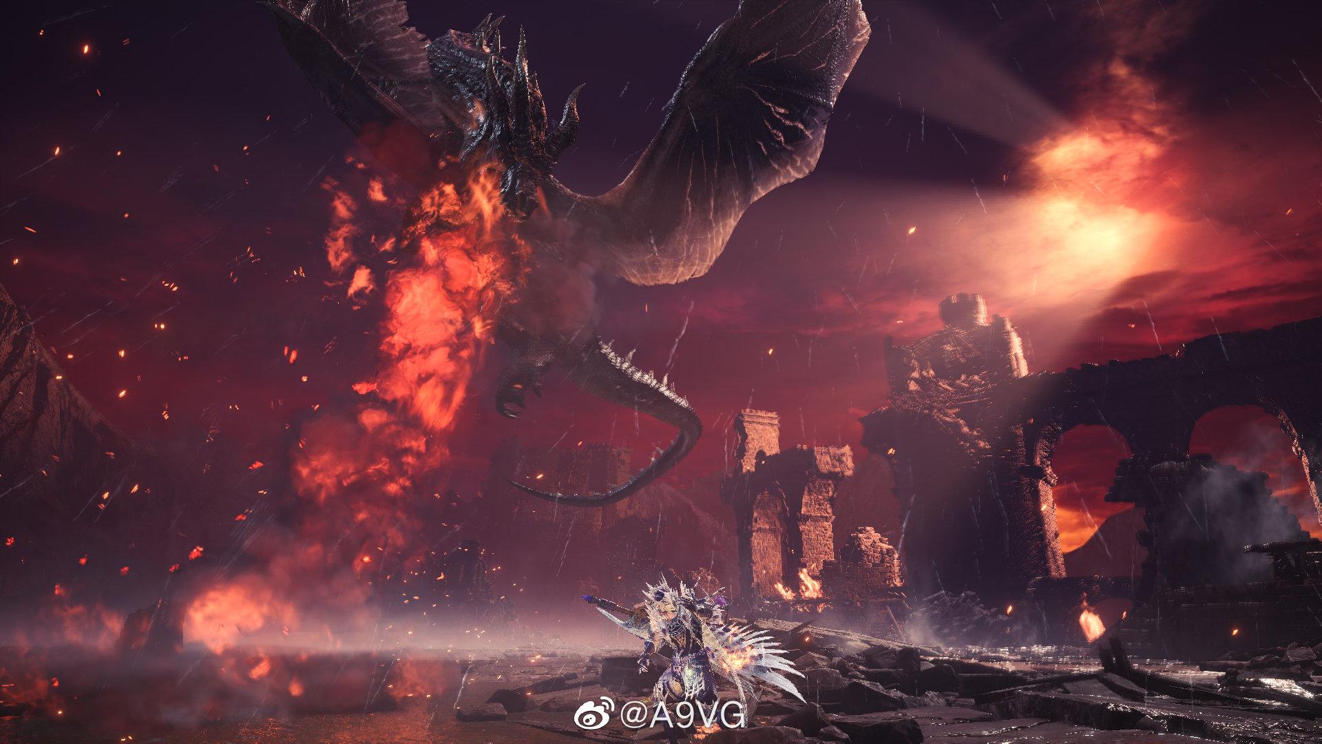 """《怪物猎人世界 Iceborne》公开了一组""""黑龙""""的游戏截图"""