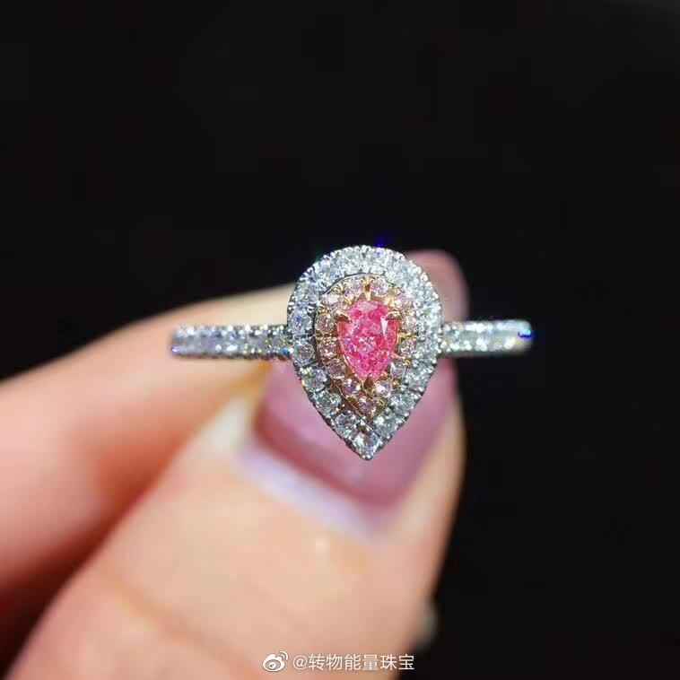 18K粉钻水滴戒指💍最简约最经典 直臂设计~主钻约10分 副钻约22