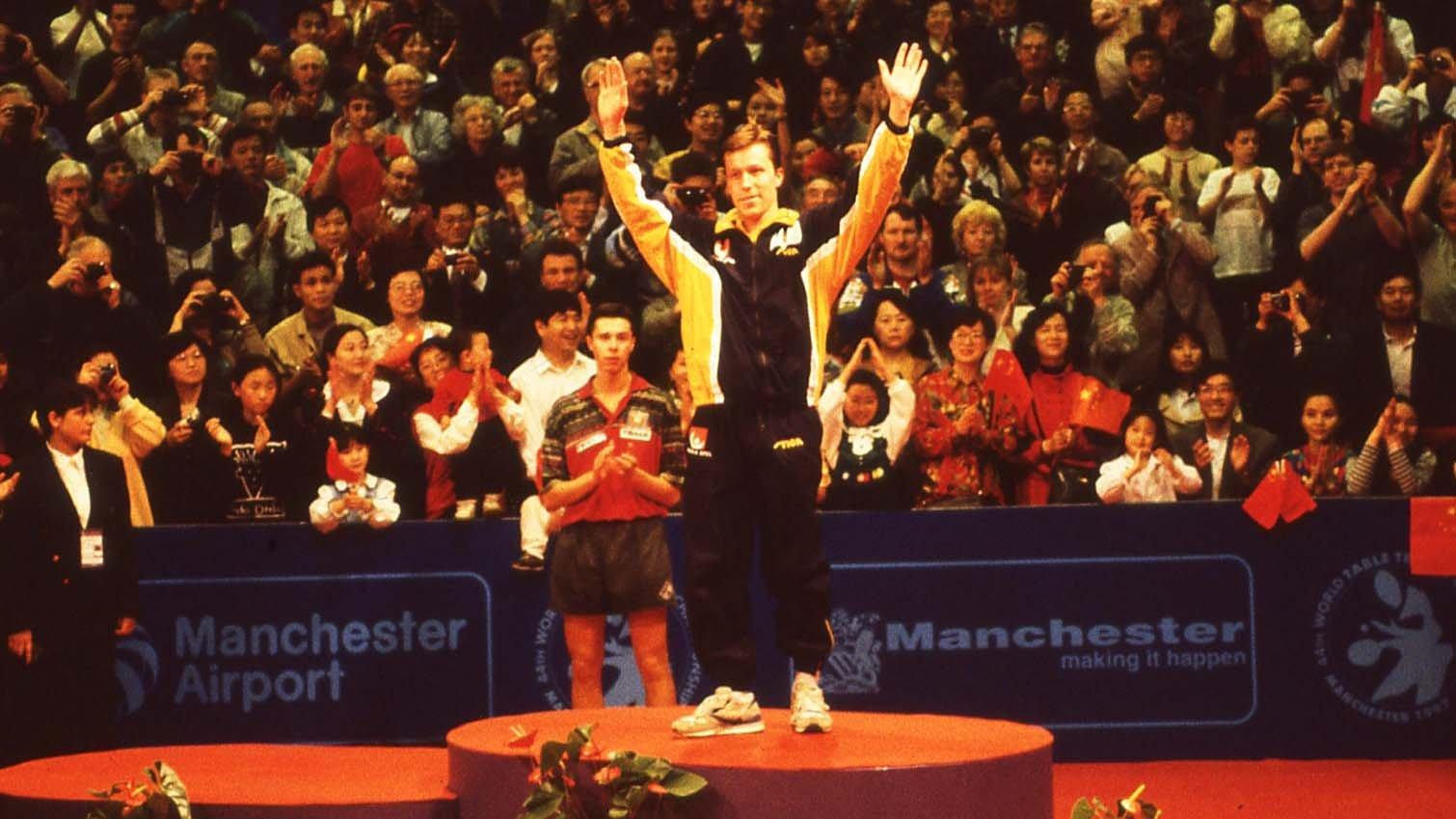 1997年5月5日,瓦尔德内尔在世乒赛男单决赛中 (21-12, 21-17