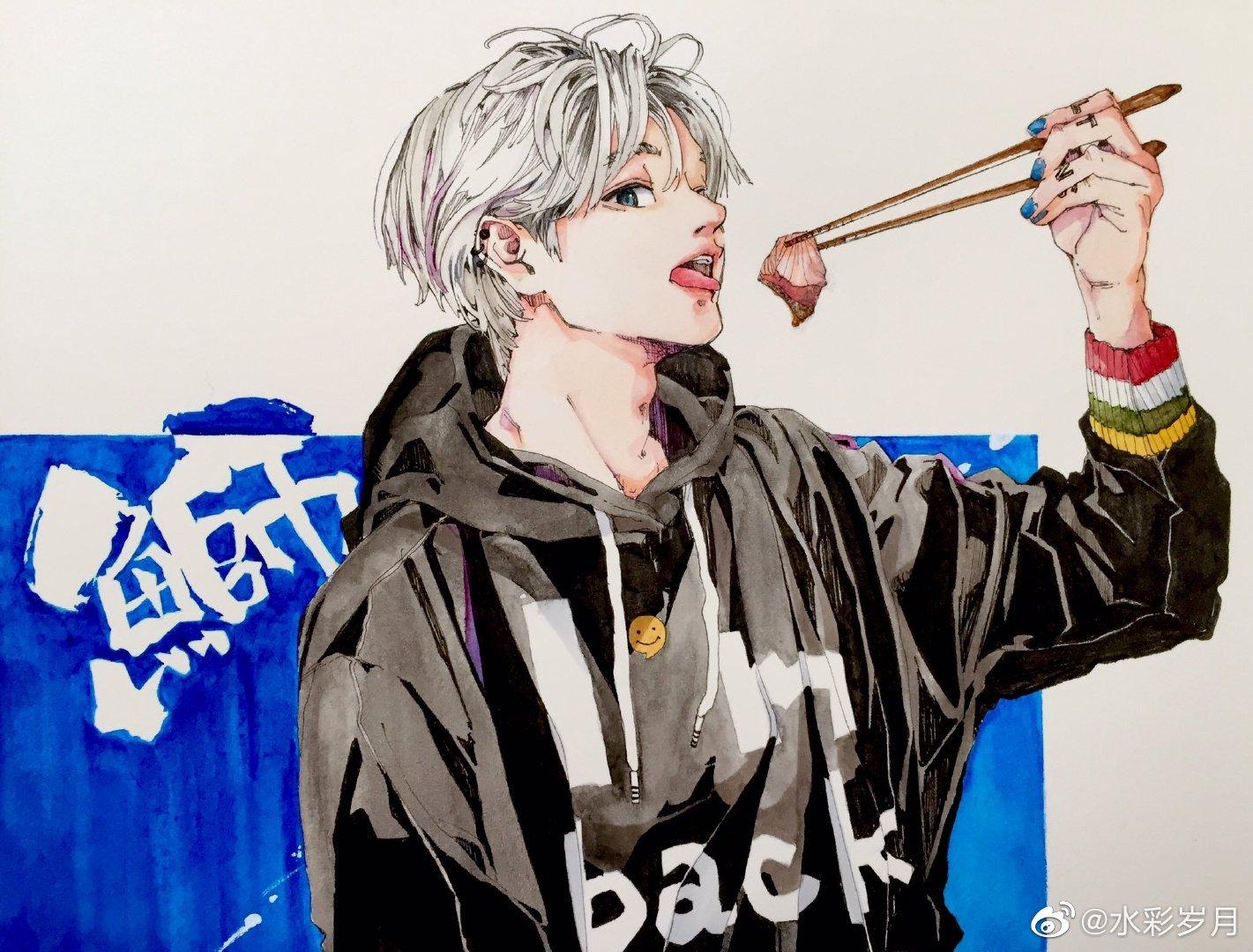 艺术家  ‖  twi:camaro_b_tkg  钢笔淡彩人物插画