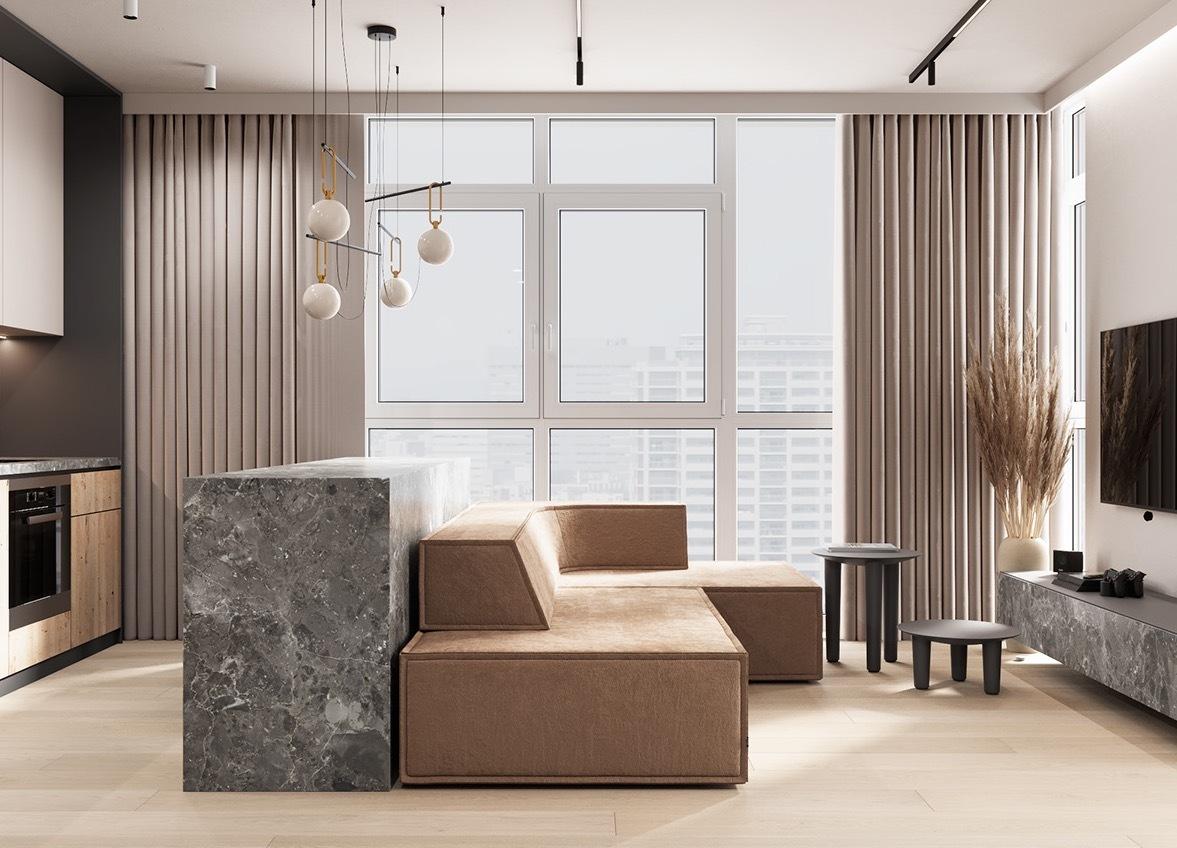 大理石+原木,精简克制的高级感汕头设计师/汕头室内设计